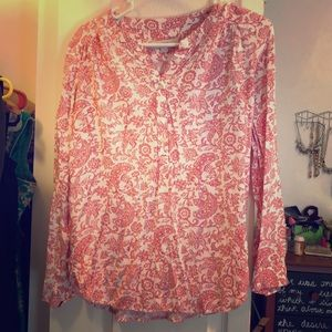 Pink and white soft button front tunic